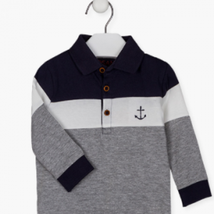 3-toned cuffed polo for baby boy. Long-sleeved knitted polo shirt. Rib knit at the cuffs and the collar. With mock wood buttons. With stripes. Anchor embroidery on the chest. Side vents.