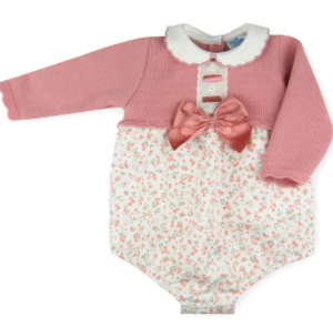 Baby girl's long sleeve romper by sardon, knitted body and floral print and scalloped collar