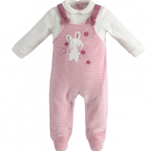Baby girl all in one babygrow with fake dungaree look. presented in a gift box.