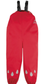 frugi puddle buster trousers red