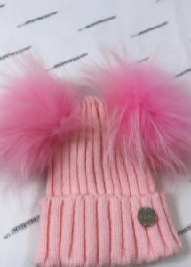 My sisters closet double pom pom hat with pink poms