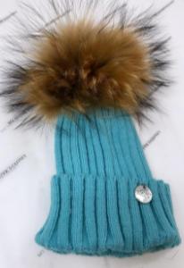 My sisters closet single pom faux fur hat - teal