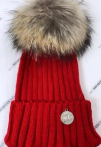 My sisters closet faux fur pom pom hat - red