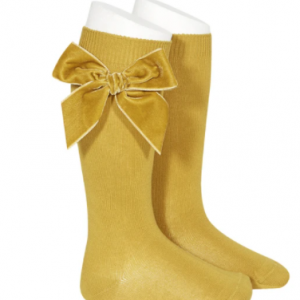CONDOR Mustard Velvet Bow Sock