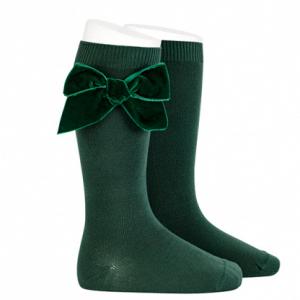 knee high socks by condor green with side velvet bow