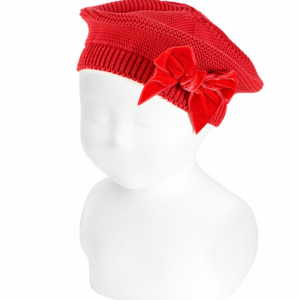 Condor red beret with velvet bow