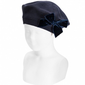 Condor navy blue beret with velvet bow