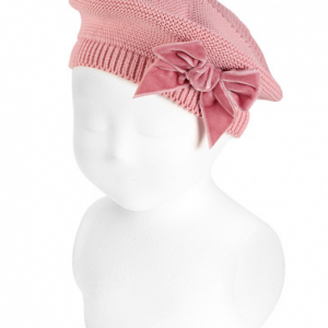 Condor beret with velvet bow pink