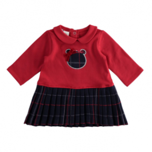 I do girls fleece jersey dress red with navy check pleated skirt