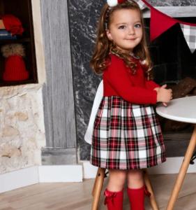Juliana red knit tartan dress