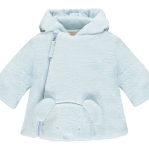 This cute blue baby boys' jacket will keep baby cosy in chilly months made in deep fleece, with padding and jersey lining. An adorable 3D teddy face peeps over the bottom of the jacket. Jersey lining to the hood and an internal elasticated jersey cuff at the wrists will keep out the coldest of winds. Finer Details: Deep pile cosy fleece 3D peeping teddy face Hidden elasticated cuffs