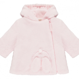 This cute pink baby girls' jacket will keep baby cosy in chilly months made in deep fleece, with padding and jersey lining. An adorable 3D bunny with ears and pom-pom nose peeps over the bottom of the jacket. Jersey lining to the hood and an internal elasticated jersey cuff at the wrists will keep out the coldest of winds. Nice and toastie! Finer Details: Deep pile cosy fleece 3D peeping bunny Hidden elasticated cuffs