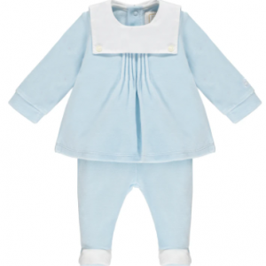 As classic as it is practical, gorgeous velour two-piece is a little bit different. This smock style top with a buttoned bib collar and neat vertical pin tucks is very smart. The matching leggings with feet has a soft elasticated waist making it comfy and cosy for walking or crawling. Finer Details: Luxurious velour Smock style top Pintucks and bib style collar
